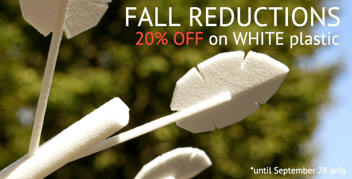 Benefit Fall Reduction:20% off for white plastic orders.