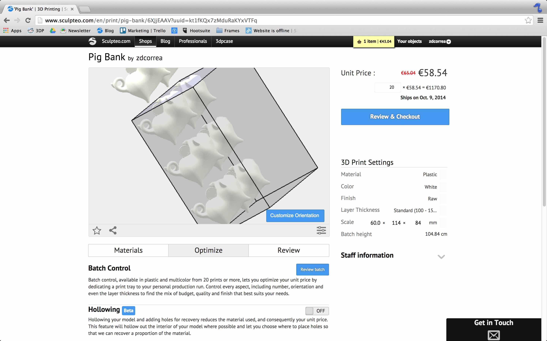 Batch Control of 3D model