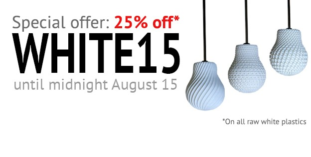 Special discount on one 3D Printing Materials: White Plastic
