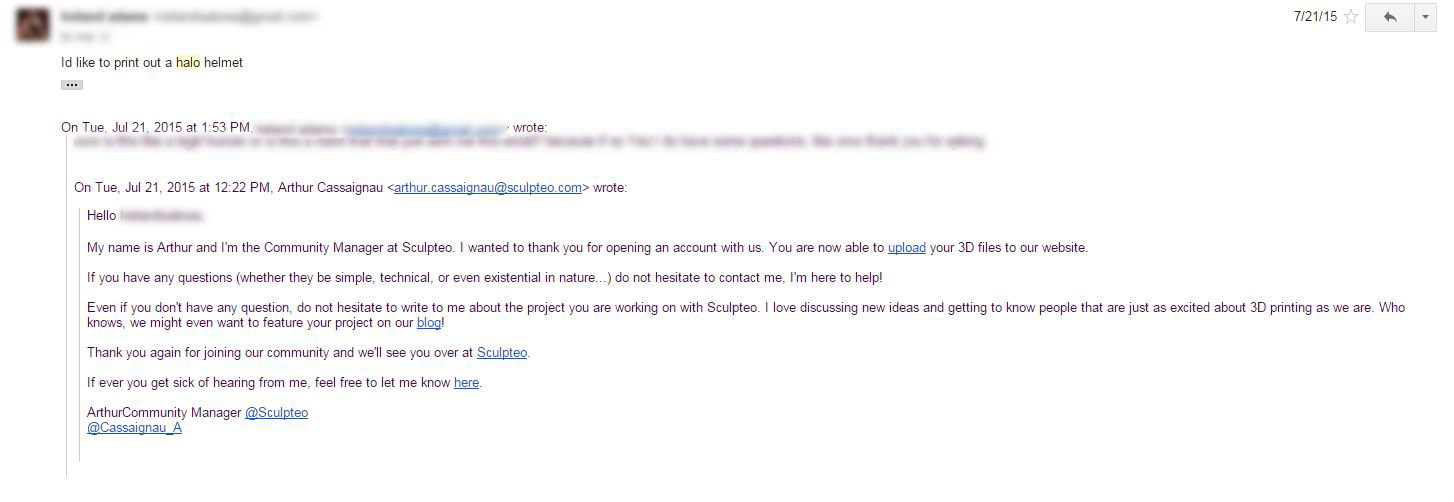 Sculpteo user email