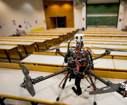 Jarriquez Drone with 3D printed part to mount a LIDAR sensor in a classroom