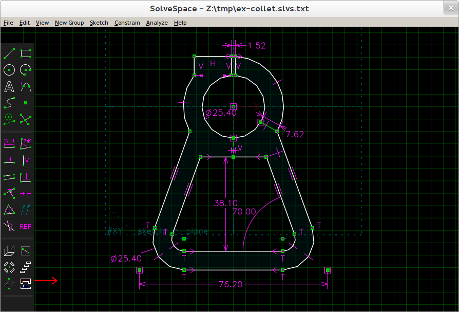 Example of sketch under Solvescape