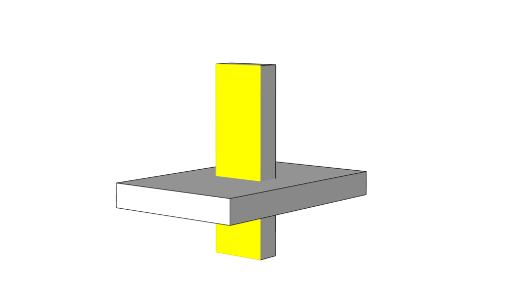 Crossed volumes 3D modeling