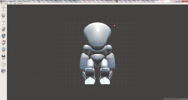 Example of Sculpteo Robot 3D File opened in MeshMixer